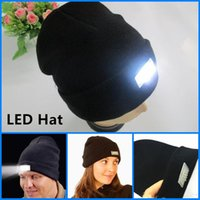Wholesale Led Sports Hats - LED Lighting Knitted Hat Women Men Camping knitted Cap Travel Hiking Climbing Sport Hats Warm Winter Light Up Beanie Skull Caps 2017 Hot
