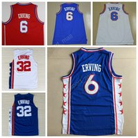 Wholesale White Fans - High Top 6 Dr J Julius Erving Jersey Men Sale Throwback 32 Julius Erving Basketball Jerseys For Sport Fans Team Red Blue White Color Quality
