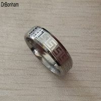 Wholesale Color Fade Ring - Never fading silver color engagement men ring textured greek key stainless steel wedding Rings Free Shipping wholesale 6mm