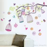 Wholesale wallpaper art home for sale - Wall Stickers Branch Cage Pastoral Style Scenery Wallpaper Mural Art PVC Decal Home Decor Water Proof hy J R