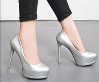 New Arrival Hot Sale Specials Sweet Girl Boa qualidade Noble Elegant Silver Sexy Stilettos Grid Platform Club Party Heels Shoes EU34-39