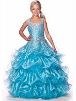 Великолепный цветок Gageant Girl's Gowns Sexy Beading Organza Ruffled Spaghetti-Straps Crystal Ruched Little Girl Flower Girls 'Dresses 2017