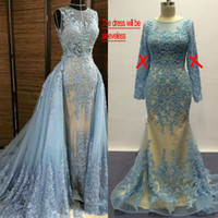 Wholesale Lace Nude Mermaid Wedding Dress - Blue Wedding Dresses 2017 over Nude Lining Real Images Crew Neckline Mermaid Beaded Emrboidery Lace Wedding Gowns with Detachable Overskirt