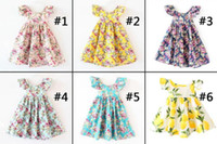 Wholesale Lace Halter Style Dress - 11 Designs Cherry lemon Cotton backless girls floral beach dress cute baby summer backless halter dress kids vintage flower dress