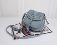 Wholesale Sky Saddle - with logo Genuine Leather Women Cross Body Bags Tassen Rivets Shoulder Saddle Bags Famous Brand Designer Style Messenger Bags