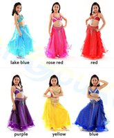Wholesale Purple Belly Dance Top - girl Belly Dance dress kid tops Silver yarn Curling skirt belt Dancer Costume Set Jazz Latin dance Clothes Practice Suit