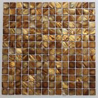 Wholesale Golden color mother of pearl shell mosaic mm x mm on mesh backer fresh water shell tile MS095