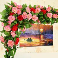 ingrosso wedding green garland-Wholesale- 250 centimetri Rose di seta finte Ivy Vine fiori artificiali con foglie verdi per la decorazione domestica di nozze Hanging Garland Decor