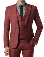 Wholesale Mens Pink Zipper Ties - Wholesale- 2017 Wine Red Suit Custom Made Wedding Suits With Pants Mens Tuxedos Grooms Shawl Black Lapel One Button( Jacket+Pants+Vest+Tie)