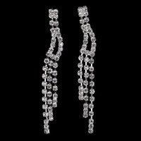 Wholesale New Arrival Rhinestone Dangle Tassel Earrings Silver Wedding Bridal Jewelry Full Crystal Drop Earrings for Women E5105