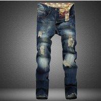 Wholesale Brand Man Jeans - Wholesale- ripped men jeans 2017 Famous brand straight denim trousers mens design slim fit distressed jeans pants homme european style