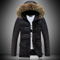 Wholesale Winter Jacket Fur Hood Mens - Wholesale- 2016 Long Parka Men Winter Jacket Men Coat Brand Mens Winter Parka With Fur Hood Manteau Homme Hiver Abrigos Hombres Invierno