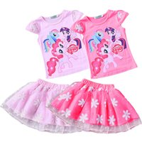 Wholesale Mini Little Ponies - New arrival little pony Baby Toddler Desses Two Pieces Cotton O Neck Cap Sleeve Girl Princess Dresses Gown Summer 100-150