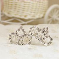 meninas tiara pentes venda por atacado-3 * 2 CM Moda Pequeno Tiaras de Prata Strass Pentes De Cabelo De Metal Crianças Acessórios Para o Cabelo para Meninas Clips de Cabelo de Cristal Do Casamento Tiara De Noiva