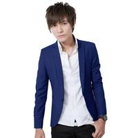 erkekler ceketler satışı toptan satış-Toptan Satış - Sıcak Satış Yeni Varış Bahar Moda Safir Renk Şık Slim Fit Erkek Takım Elbise Ceket Günlük İş Elbise Blazers M-3XL Boyut