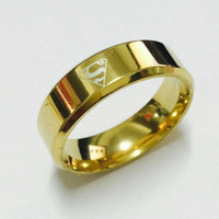 Wholesale American Girl 14 - Cool boys girls 8mm 316L stainless steel 18k gold   silver plated superman hero rings for men women high quality USA size 7-14