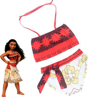 Wholesale Girls Swimwear Year - New Girls Moana Two-piece Bikini Swimsuit Children Moana sling Swimwear 3-10 Years Bohemian Kids Bathing Suits