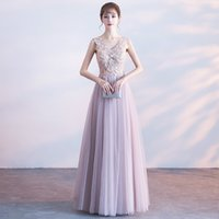 Abendkleid Elegant Light Purple V-Ausschnitt ärmellos Lace Up zurück eine Linie bodenlangen Tüll Spitze Stickerei Crystal Party Ballkleid