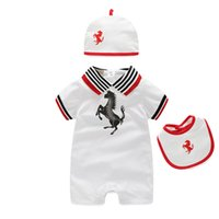 Wholesale White Collar Boy - Baby Boy Clothing Set 2016 Baby Boys Girls 3 Pcs Clothing Set Short Sleeve Baby Rompers Hat Newborn Boy Clothes