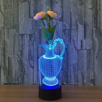 Flor de lâmpada criativa de lâmpada de lâmpada 3D Arraging with Flower 7 luzes RGB DC 5V USB Powered AA Battery Dropshipping Retail Box