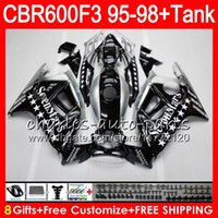Wholesale Honda Star Fairing - 8 Gifts 23 Colors For HONDA CBR600F3 95 96 97 98 CBR600RR FS Seven star 2HM18 CBR600 F3 600F3 CBR 600 F3 1995 1996 1997 1998 black Fairing