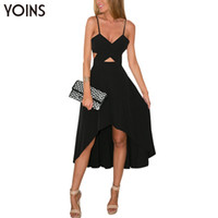 Wholesale Cut Out Maxi - Wholesale- YOINS New 2017 Women Sexy Black Plunge V-neck Wrap Front Cut Out Irregular Hem Maxi Dress Fashion Backless Cami Dress Vestidos