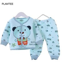 Wholesale Children Thermal Sets - Wholesale- 2017 New Spring Children Baby Clothing Set Warm Bamboo Fiber Thermal Suits Warm Baby Girl Boy Clothes 2 Piece Set Baby Warm Suit