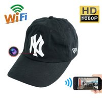 Wholesale Mini Camcoder - 32GB HD 1080P IP Camera Wearable Wifi Spy Hat Camera Mini Hidden Hat Cap Camcorder Portable DV Camcoder Nanny Cam For IOS Android PC iPad