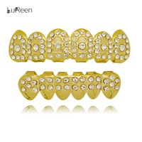 Wholesale Dental Costumes - Lureen Gold Silver Rhinestone Teeth Rock Style Hip Hop Crystal Bling Grillz Top Bottom Dental Grills Vampire Teeth for Costume Party