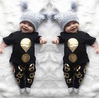 Wholesale Baby Boy Stamps - 2017 Summer Ins Infant Baby Boys Set Hot Stamping T-shirt Kids Cotton Tops Tshirt + Pants 2pcs Clothing Suit Children Outfits