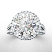 Wholesale Diamond Accent Rings - DIAMOND RING HALO 4 CT F VS1 SOLITAIRE WITH ACCENTS 14 K WHITE GOLD NATURAL NEW