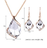 Wholesale Long Set Chain - Necklace earrings set 6-color set optional Clothing accessories necklace Fashion hanging chain Artificial Jewelry Long Chain Necklace