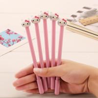 stylo kawaii rose achat en gros de-Gros-Novetly 3D KT Pink Cat conception 0.38 mm stylo gel noir / kawaii Signature stylo / drôle cadeau / école de bureau fournitures de papeterie / gros