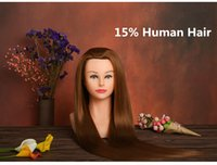 Wholesale Plastic Woman Mannequin - Best Selling Hairdresser Mannequin Head without make upTraining mannequin heads 15% Human Hair Hairdressing plastic Dolls Head