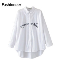 Wholesale Loose Work Blouse - Fashioneer 2017 women elegant letters embroidery oversize white shirt blouse work wear loose tops casual slim brand blusas