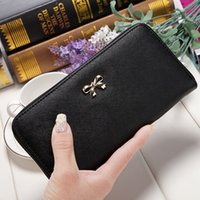 Wholesale Colored Clutches - hot sale cute Cross pattern purse bows wearable cute solid colored purse long zipper ladies clutch wallet