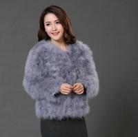 Wholesale Turkey Feather Coats - Autumn Fashion Women Long Sleeve Sexy Ostrich Wool Coats Turkey Fur Wool Coat Feather Fur Short Jacket