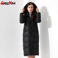 Wholesale Long Black Coat Feathers - Down Jackets Women Coat Winter Warm Extra Long Jacket Female Coats Black Feather Parka Doudoune Outwear Hooded Clothing Garemay
