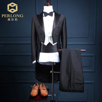Wholesale Stage Custom Clothing - Wholesale- Custom made Men's Clothing Sets Korean Studio Tuxedo Suits Male Slim Groom Wedding Dress Suits 3pcs Stage Costume Clothes Sales