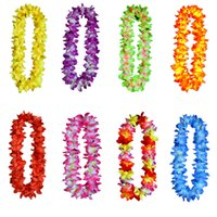 Hawaii Beach Flowers Ghirlanda Leis Spessi 120cm Decorazioni Luau Party Flower Petalo Collana Copricapo Colorful Novely Floral Handmade LF10