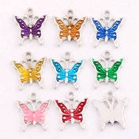 Wholesale Charms - 180pcs lot 17x15.2mm 9Colors Antique Silver Enamel Butterfly Spacer Charm Beads Pendants Alloy Handmade Jewelry DIY L1561