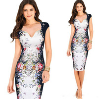 Wholesale Elegant Butterfly Sleeves - 2017 New Vintage Womens Clothing Short Sleeve Summer Work Casual Party Elegant Floral Butterfly Print Bodycon Casual Pencil Dresses