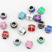 Cross Style Oil Dripping Charm Bead 925 Prata de prata Fashion Women Jewelry Design deslumbrante Estilo europeu para pulseira Pandora