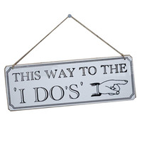 "Wholesale Reception Signs - Wooden Hanging Decoration ""This Way To The I Do "" ""I DO"" Wedding Reception & Ceremony Decoration Directional Signs Wedding Sign Board"