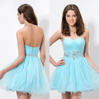Sparkle Charming A Line Sweetheart Mini kurz Light Blue Tulle Sexy Heimkehr Kleider Perlen Kristall Hot Verkauf Cocktail Party Kleider
