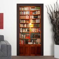 Wholesale kids sticker books - 77*200cm 3D Bookcase Door Mural Sticker 3D Decorative Many Books Door Mural Decal Home Decor for Kids Room Study