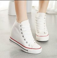 Wholesale Lace Up Closed Toe Wedges - Superstar High Top Canvas Women Shoes Espadrilles Spring Autumn Women's Wedges Shoes Lace Up Casual Shoes Sapatilha