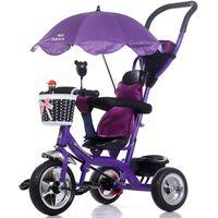 bicicletas de ruedas para niños al por mayor-Al por mayor-Lujo Bebé Cochecito de Bebé Triciclo Bicicleta Niños Marco de acero Rueda Neumática con Toldos Paraguas Niños Aprendiendo Bicicletas Cochecitos