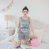 Wholesale hot night suit women - Wholesale- Hot Sale Summer Women Pyjamas Clothing Brand Famaily Tracksuit Sleeveless Tops Set Female Pyjamas Sets Night Suit Sleepwear