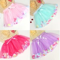 Wholesale Colorful Petals - Baby Girls Childrens Kids Dancing Tulle Tutu Skirts with colorful petal lace dress Bubble Skirt baby clothes TA186